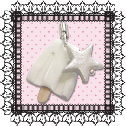 White Ice Cream Cell Phone Charm