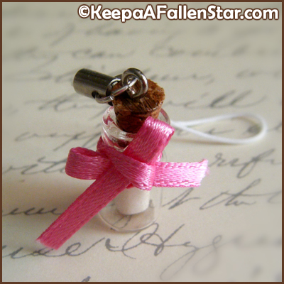 Love Note Bottle Strap Charm Design © OurDestiny Designs and Keep A Fallen Star™